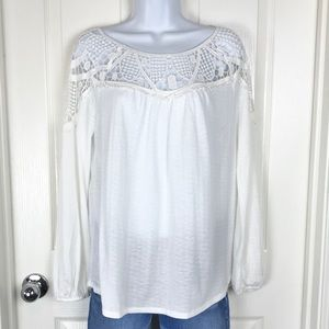 Maurices White Crochet Peasant Blouse Top sz M